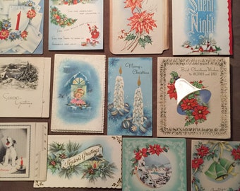 Lot of twelve vintage holiday christmas greeting cards