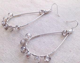 Smoky Gray Earrings, Smoky Grey Crystals, Wire Wrapped Earrings, Dangle Earrings, Silver Earrings, Silver Wire Wrapped, Silver Loop Earring
