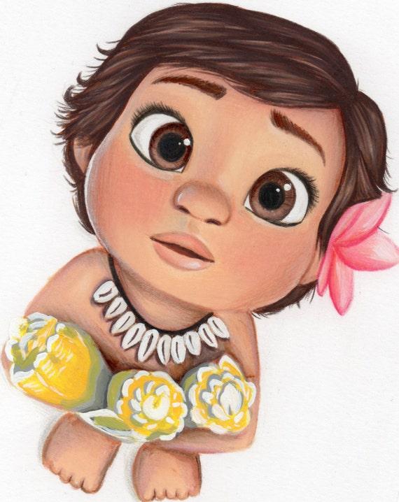 Cute Baby Moana Printable Wall Decor
