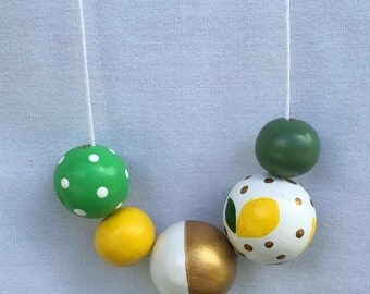 Wooden bead necklace // Limited Edition - Lemon Delicious // Yellow, Green and Gold // hand painted