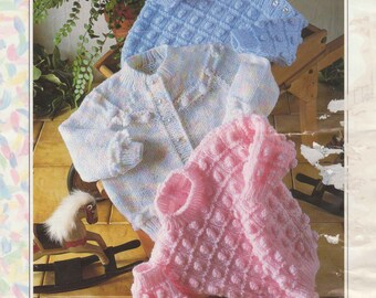 """Vintage Knitting Pattern pdf~Bobble Baby's Cardigan & Sweaters~DK~16-22""""~Instant Download"""