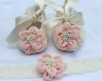 Ivory baby Shoes with light pink flower and  Matching headband