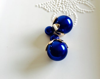 Double Side blue Pearl Earring to ball