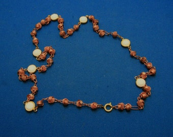 Vintage Copper And White Lucite Textured Love Know Station Necklace