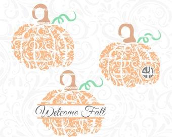 Pumpkin monogram svg - Pumpkin svg - fall svg - thanksgiving svg - Flourish pumpkin - .DXF .SVG, .PNG -cutting file- commercial use