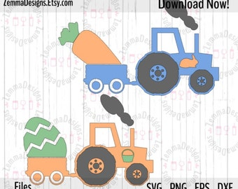Easter svg - Tractor svg - file types. .DXF .SVG, .PNG Silhouette studio - cutting file - commercial use