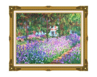 The Artist's Garden at Giverny Claude Monet Framed Canvas Art Print Painting Reproduction - Sizes Small to Large - M00706-6