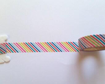 Rainbow Stripes Washi Tape // Sample // Item #WT009