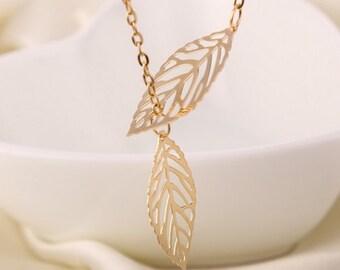 Leaf Necklace, Everyday Jewelry, Gold Leaf Necklace, Silver Leaf Necklace, Dainty Jewelry, Simple and Elegant, Minimalist Jewelry