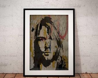 Kurt Cobain print, Music wall art printable poster, Kurt Cobain poster print instant download