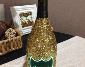 Luminous Dom Perignon Glitter Champagne Bottle ( EMPTY !!! Social Media ) Veuve Clicquot Moet
