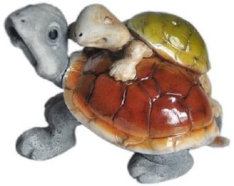 """2.75"""" Tortoise w/ Baby Fairy Garden Terrarium Dollhouse Miniature Turtle Reptile"""