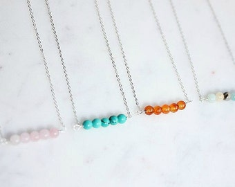 Gemstone bar necklace - Beaded bar gemstone necklace in Sterling Silver - Minimalist necklace  - Layering necklace
