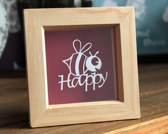 Bee Happy Papercut, Be Happy framed papercut, framed gift, gift for her, gift for him, friendship gift