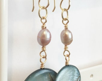 Pearl and shell dangle earrings