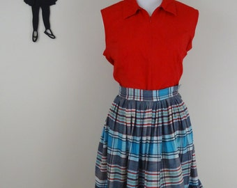Vintage 1950's Striped Skirt/ 50s Plaid Skirt XS