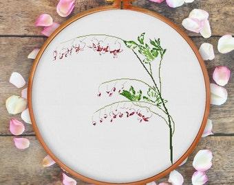 Bleeding Heart Flower cross stitch pattern, modern cross stitch pattern, natural cross stitch pattern, flower pattern, unique pattern, pdf