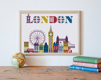 Cute London city cross stitch pattern| Modern England love travel symbol landmark monument counted chart| Nursery baby dream wall room decor