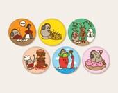 Eggman Comics set of 6 Buttons