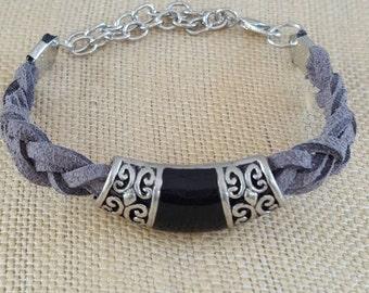 Gray suede braided bracelet
