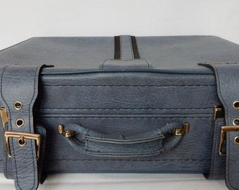 Vintage  Suitcase, Blue/Grey, Soft  case, lovely to use for storage. Retro, shabby chic, vintage luggage