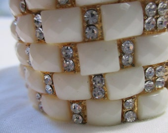 White Plastic Squares with Gold Tone Metal Hinged Cuff Bracelet
