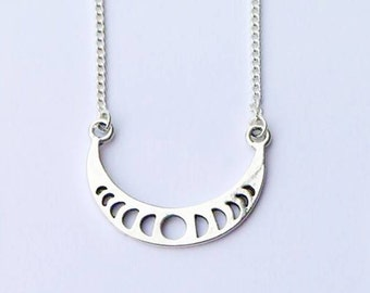 Necklace - Silver Metal Celestial Moon Phases Pendant on 925 Sterling Silver Chain
