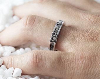 Grey Diamond Ring Sterling Silver Raw Uncut Wedding Band Personalized Jewelry