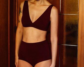 SALE - XS - Merlot High Waist Panty - Bamboo / Organic Cotton Underwear