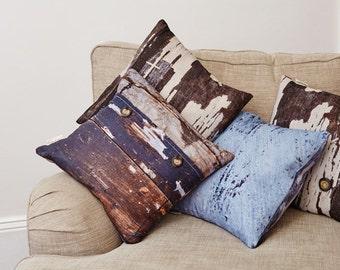 Breezy Blue Linen Cushion, coastal decor, beach, organic homeware, rustic home decor, country chic,  abstract pillow, Duck feather cushion