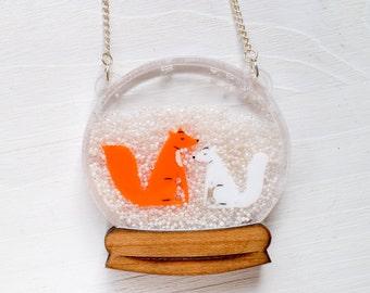 Fox Snowglobe Necklace - fox jewellery - fox jewelry - fox pendant - red fox - arctic fox - animal necklace - fox gift - gift for fox lover