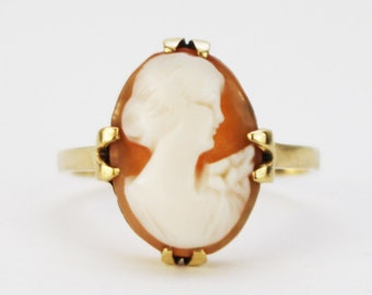 10K Gold Cameo Ring - Promise Ring - Size 6 Genuine Gold Victorian Style Blush Cameo Ring by Birks