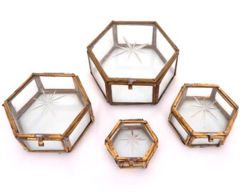 RESERVED Brass Glass Curio Boxes, Curiosity Box, Glass Display Box, Brass and Glass Trinket Box, Jewelry Display Case, Glass Curio Display