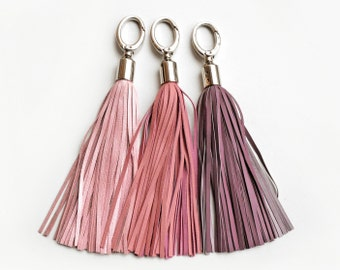 Leder-Quaste, leicht rosa und lila lang Quaste Schlüsselanhänger