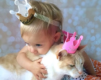 Pet Crown - Kitty Birthday Crown - Personalized Head Accessory -  Soft Felt Headpiece - Pet Photography - Photo Prop - Pet Party Hat
