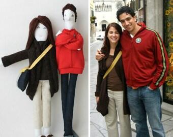 Son & Hers couple poupées d'art, portrait personnalisé poupées, poupées de ressemblance farcie, personnalisé soft sculpture, cadeau d'anniversaire de mariage unique