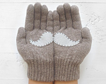 CHRISTMAS GIFT, FAST Delivery, Mustache, Heather Brown Gloves, Fun Gloves, Special Gift, Hipster, Xmas Gift Idea, Unisex Gift, Cool Gift