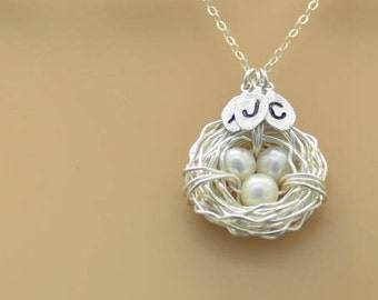 bird nest necklace, birdnest with initial, personalized jewelry, personalized gifts, mother's day necklace, mother necklace, mother jewelry,