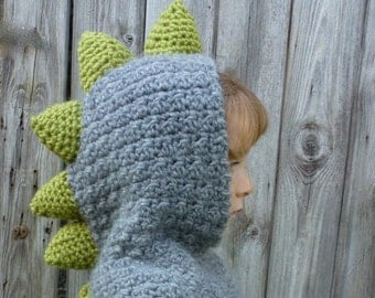 Crochet Pattern (US) Dinosaur Hood. Sizes baby, children, adult. Chunky yarn. Quick + Easy. Helpful detailed pattern.  INSTANT DOWNLOAD