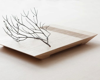 Minimal japanese tray in solid wood. Stylish designer hand made serving display platter tray SMALL