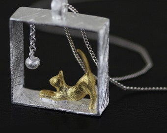 Two-tone Kitty Cat Necklace