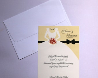 100 Wedding Gown Invitations ***Sold in packs of 100