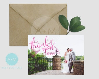 Customized Thank You Template, Photo Thank You, Wedding, Printable, Wedding Thank You, Thank You, Berry Design