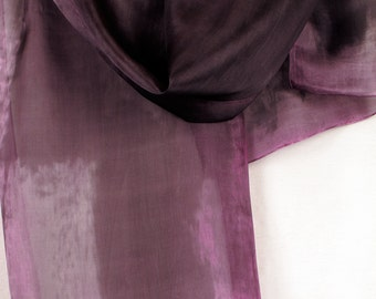 Old lavender silk scarf paint by hand. Weddings accessories/ Hand painted scarves. Abstract painting on silk. Stylish grey dark purple scarf