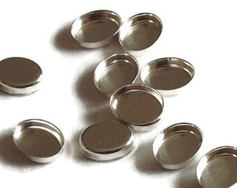 Sterling Silver Oval Bezel Cups 14mm x 10mm