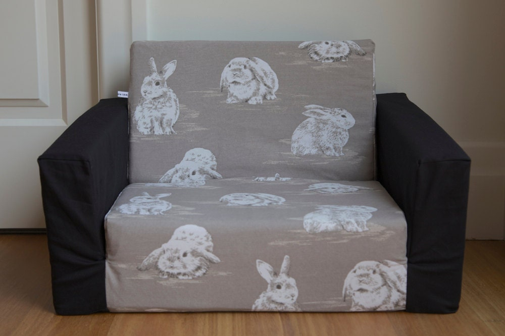 kids flip out sofa cover grey with large white bunnies and. Black Bedroom Furniture Sets. Home Design Ideas