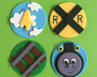 12 Thomas the Train Inspired Cupcake Toppers-Fondant