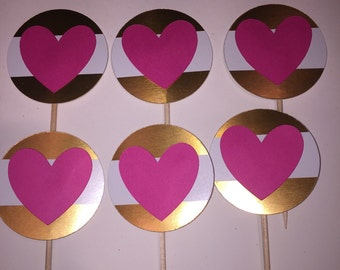 12 gold and pink heart cupcake toppers, birthday, bachelorette party, baby shower, bridal shower decorations.