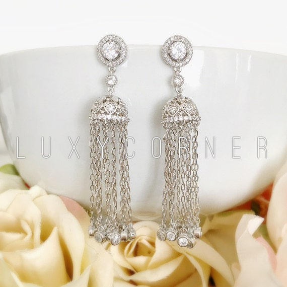 great gatsby earrings gatsby vintage pearl tassel crystal