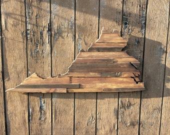 Virginia Wood Sign, Virginia Rustic wood Sign, Wooden Virginia State Outline, Virginia Sign, Virginia  Art, VA Decor